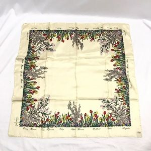 Vintage Cornelia James Silk Scarf Flower Garden